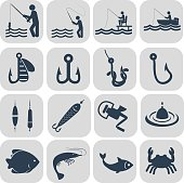 Fishing icons in single color