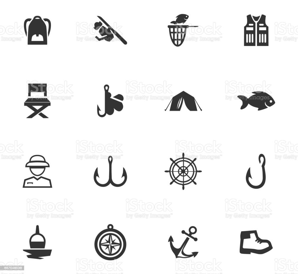 Fishing icons set vector art illustration