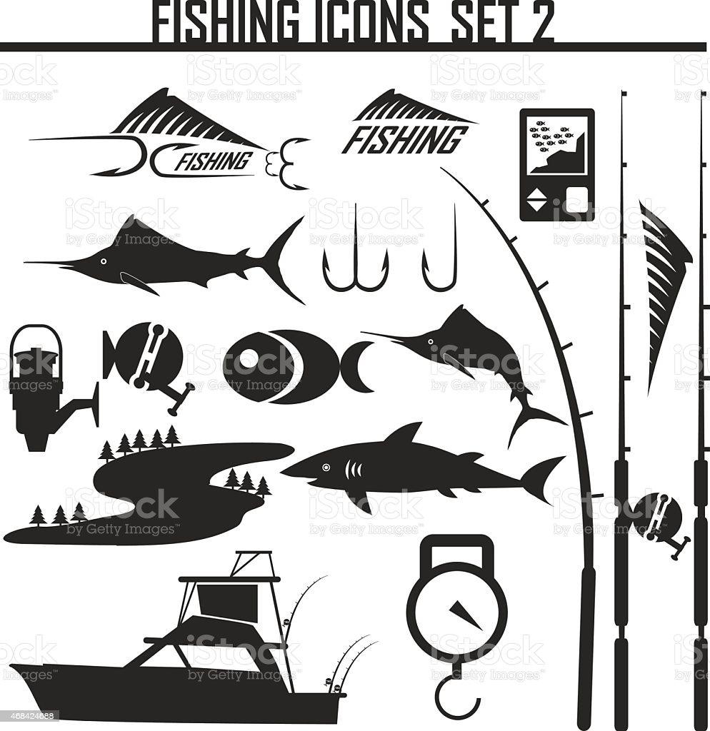 Fishing icons set2 vector art illustration