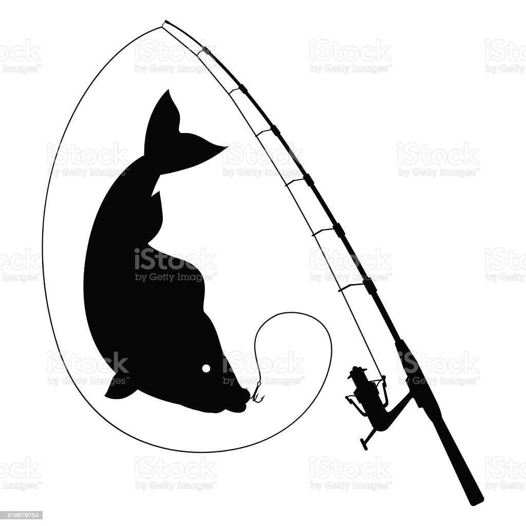 Fishing illustration with fish. vector art illustration