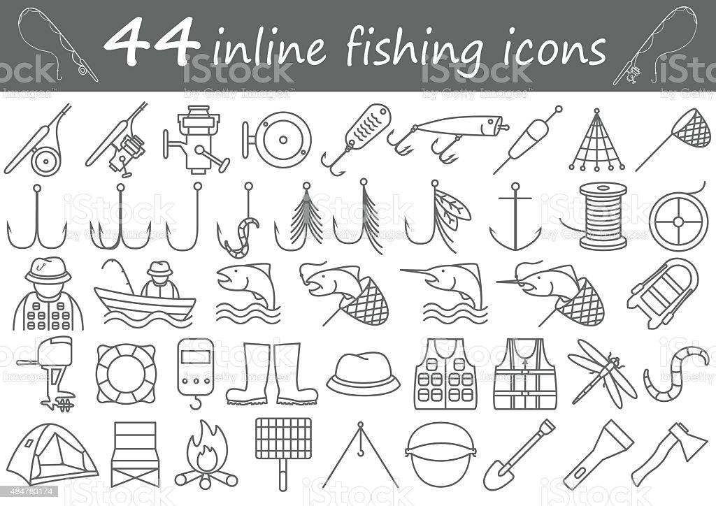 fishing inline icons vector art illustration