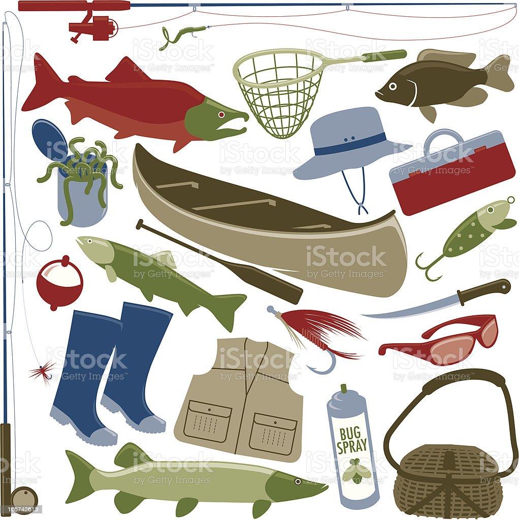 Fishing Items vector art illustration