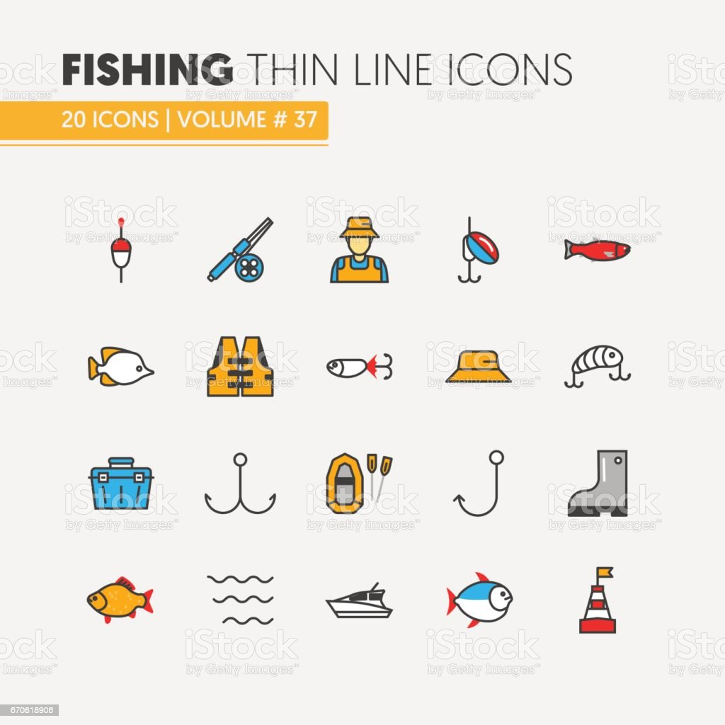 Fishing Linear Thin Line Icons Set with Fisherman vector art illustration