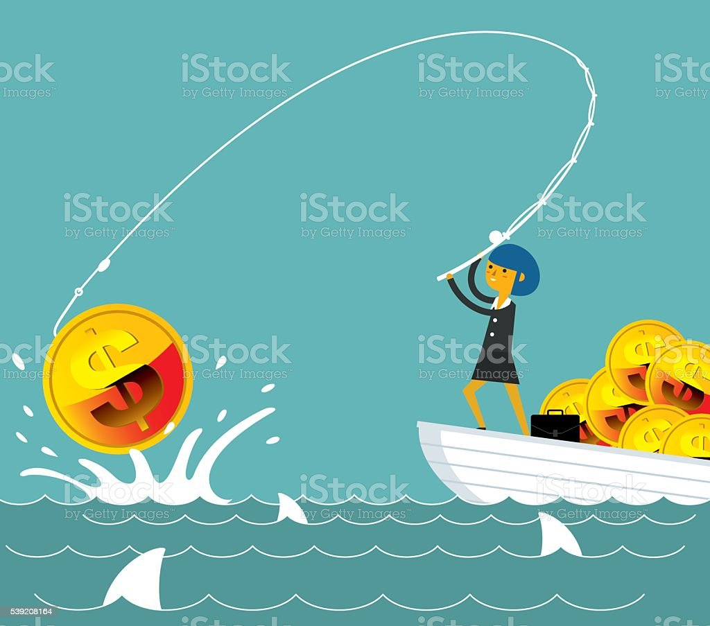 Fishing money vector art illustration