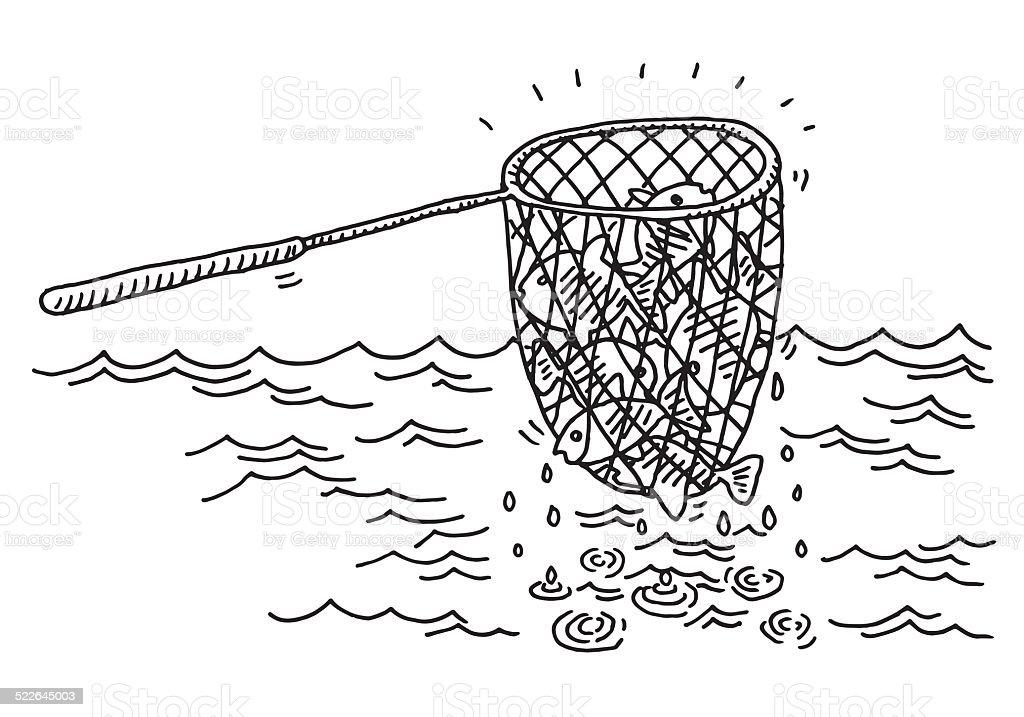Fishing Net Catch Sea Drawing vector art illustration