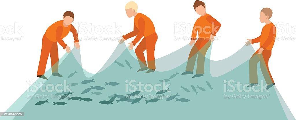Fishing net fish sea catch instrument and fishermen working tool vector art illustration
