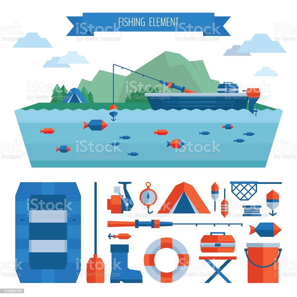 Fishing object set. Fishing on the boat, flat style. vector art illustration