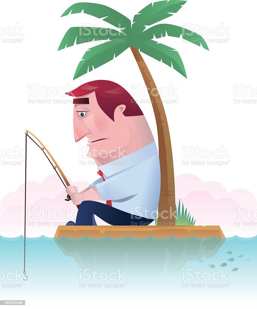 fishing on island royalty-free stock vector art