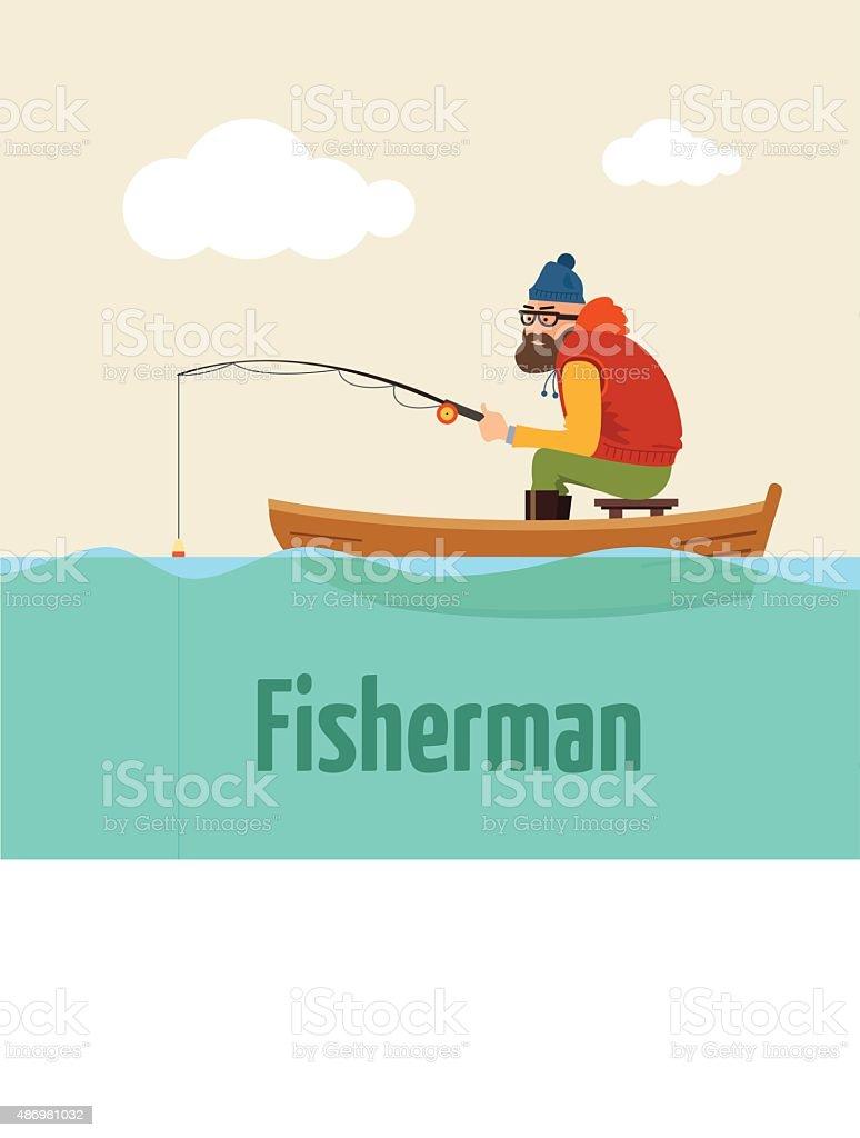 Fishing on the boat. Vector illustration of fisherman. vector art illustration