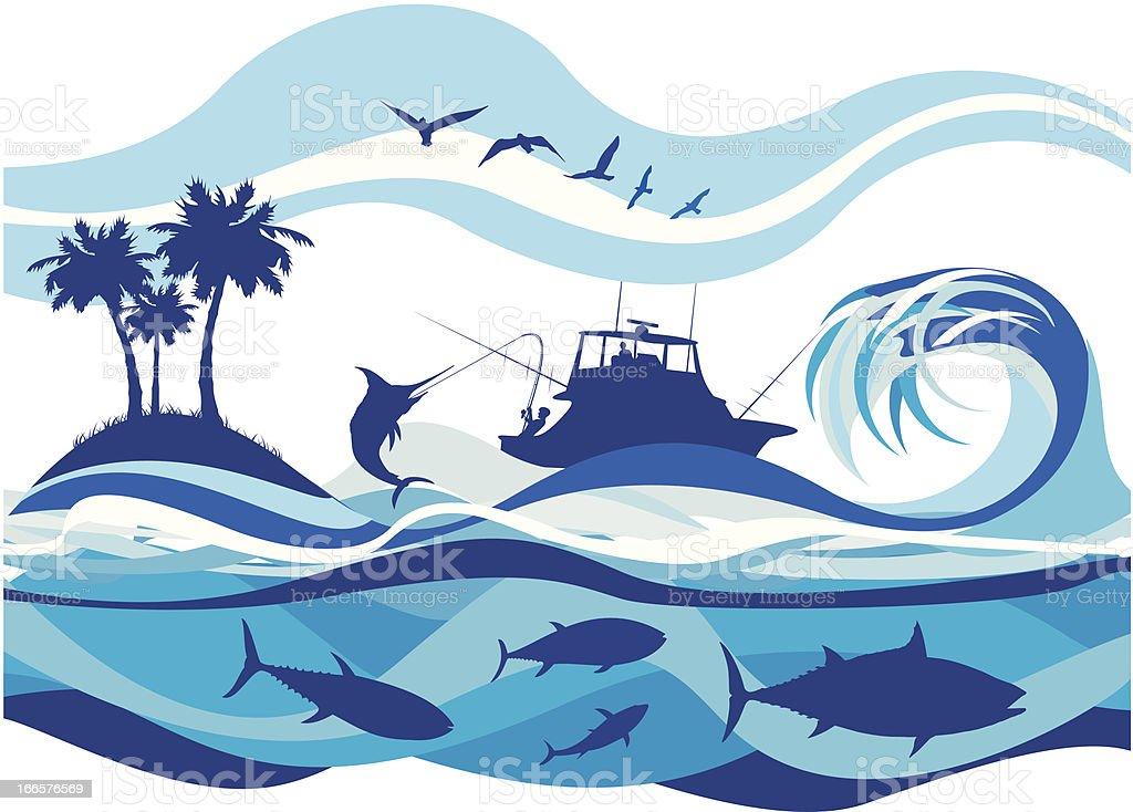 fishing on the high seas vector art illustration