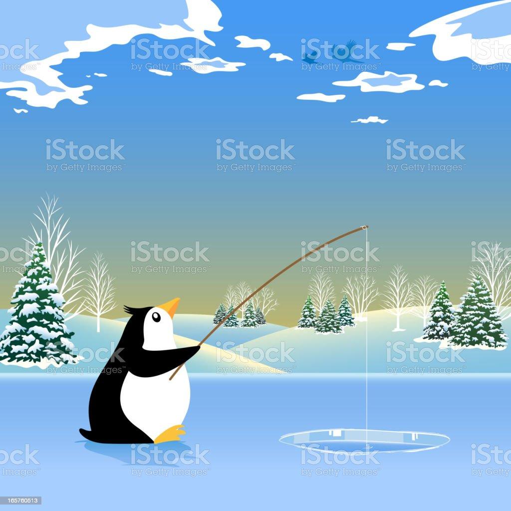 Fishing Penguin vector art illustration