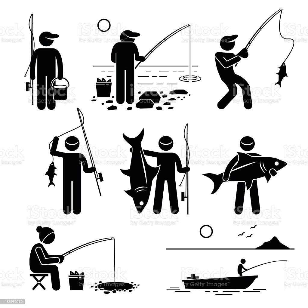 Fishing Pictogram Cliparts vector art illustration