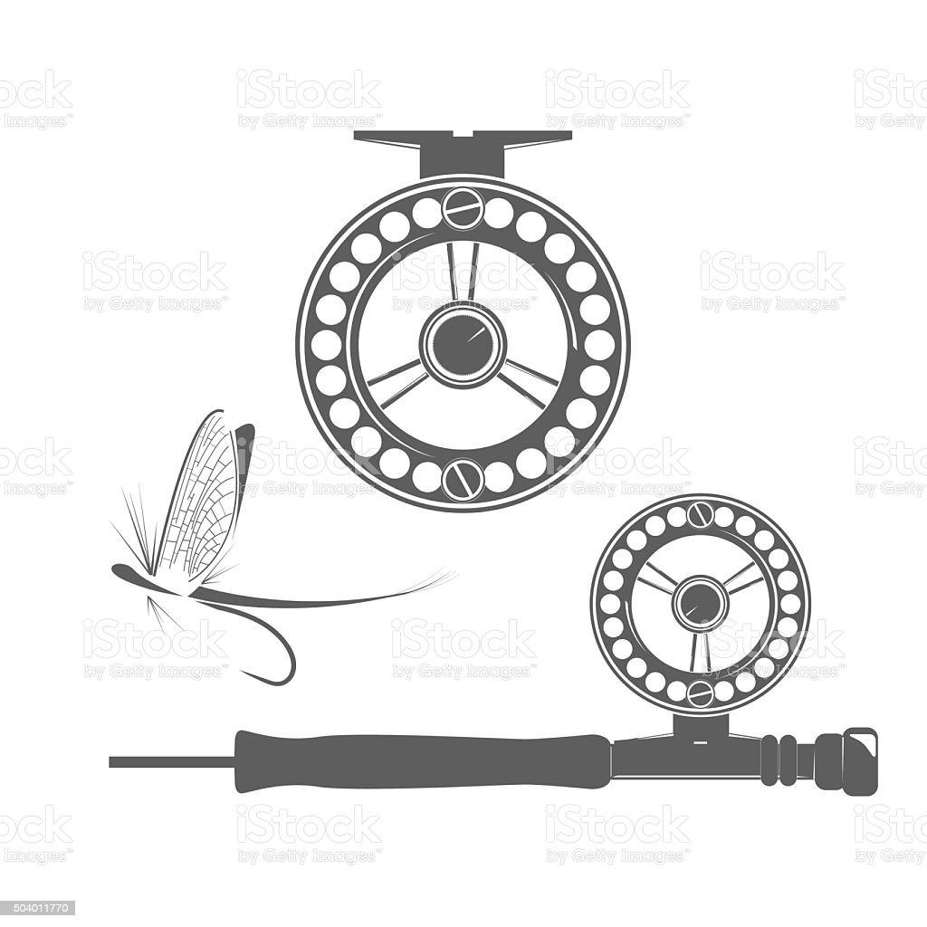 Fishing reel icons vector art illustration