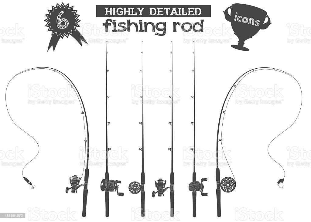 fishing rod icons vector art illustration