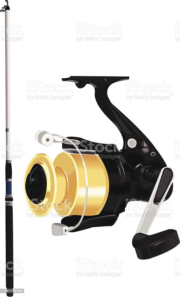 Fishing rod vector art illustration