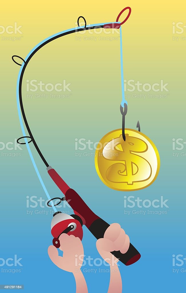 Fishing Rod With Coin vector art illustration