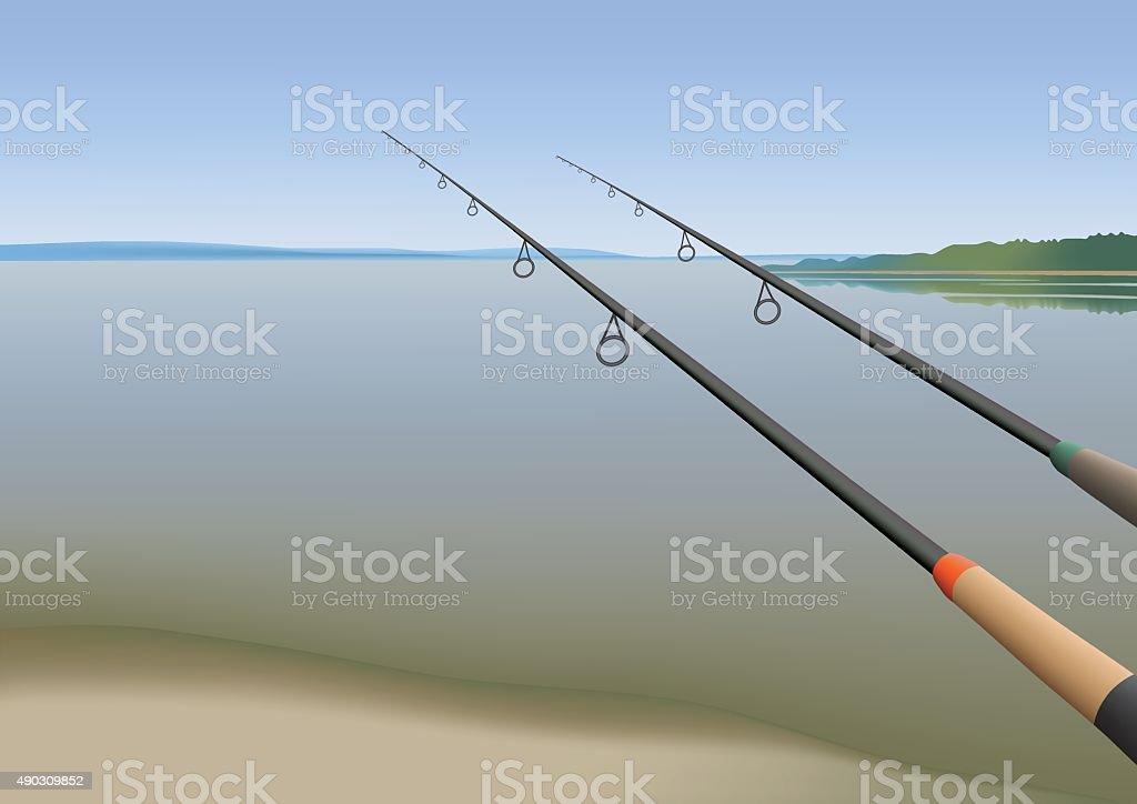 Fishing rods vector art illustration