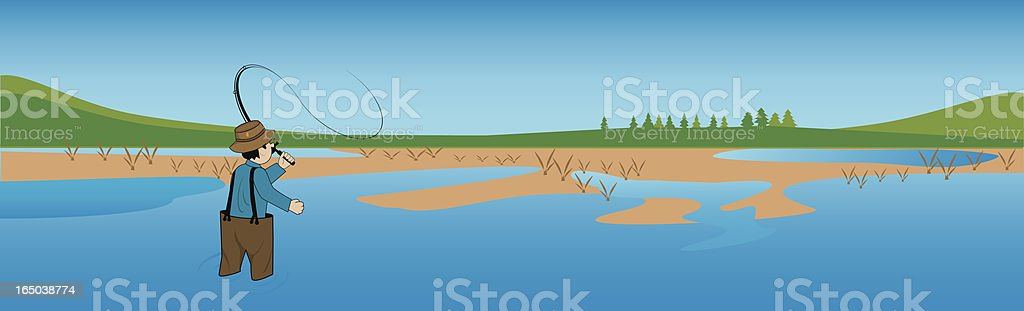 Fishing scene royalty-free stock vector art
