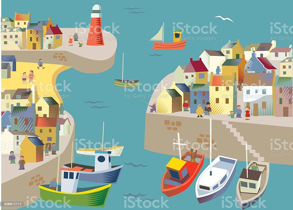 Fishing / Seaside village or town vector art illustration