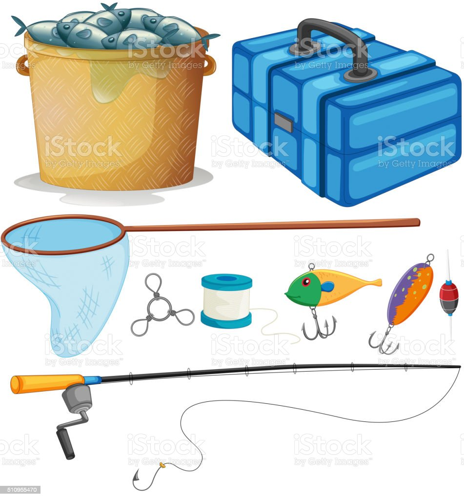 Fishing set with fishing pole and tools vector art illustration