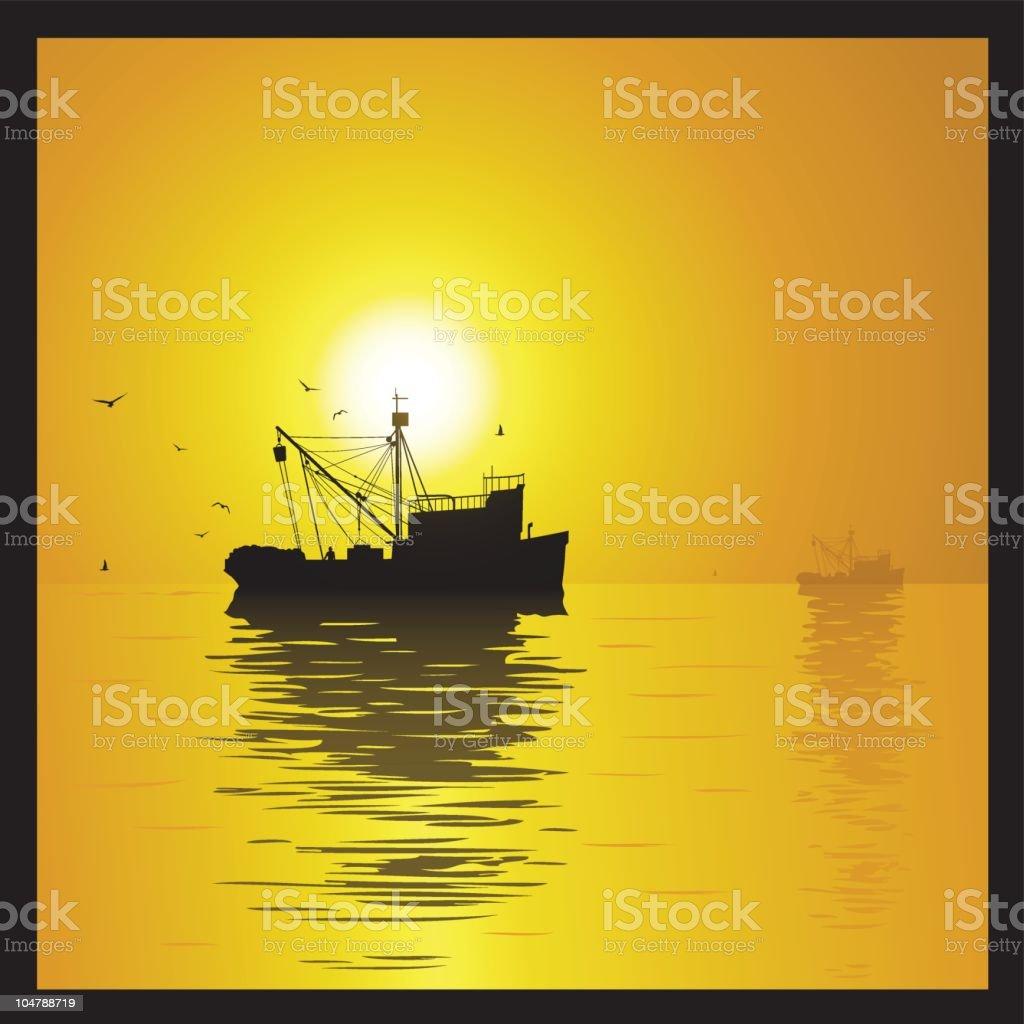 Fishing ship at sunset vector art illustration