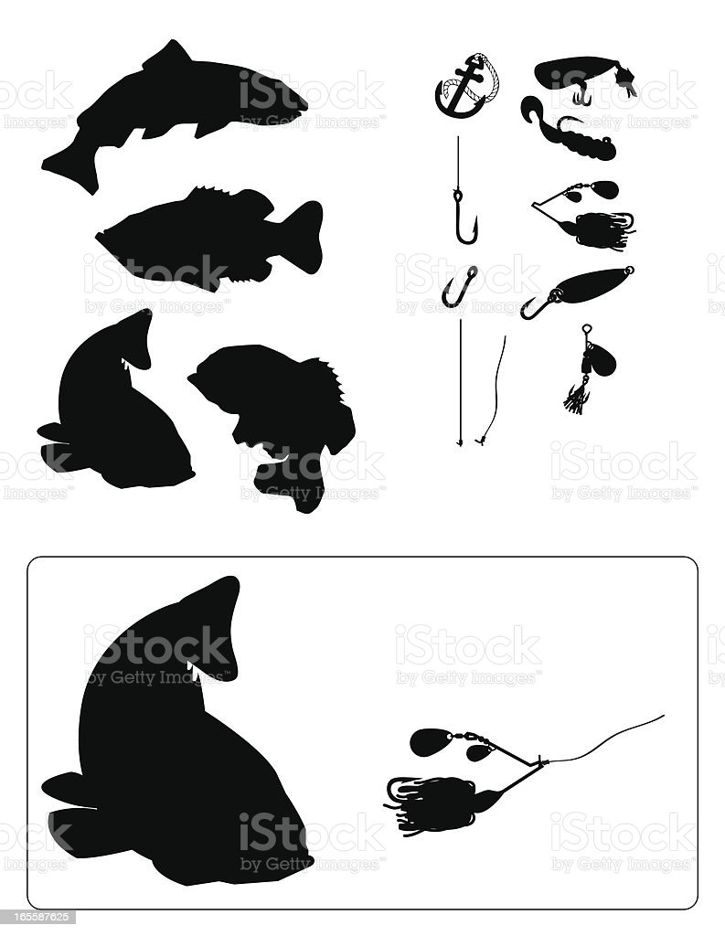 fishing Silhouette vector art illustration