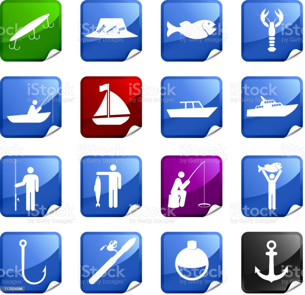 fishing sixteen royalty free icons vector art illustration