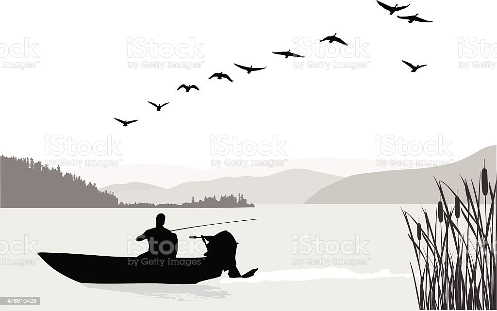 Fishing Solo vector art illustration