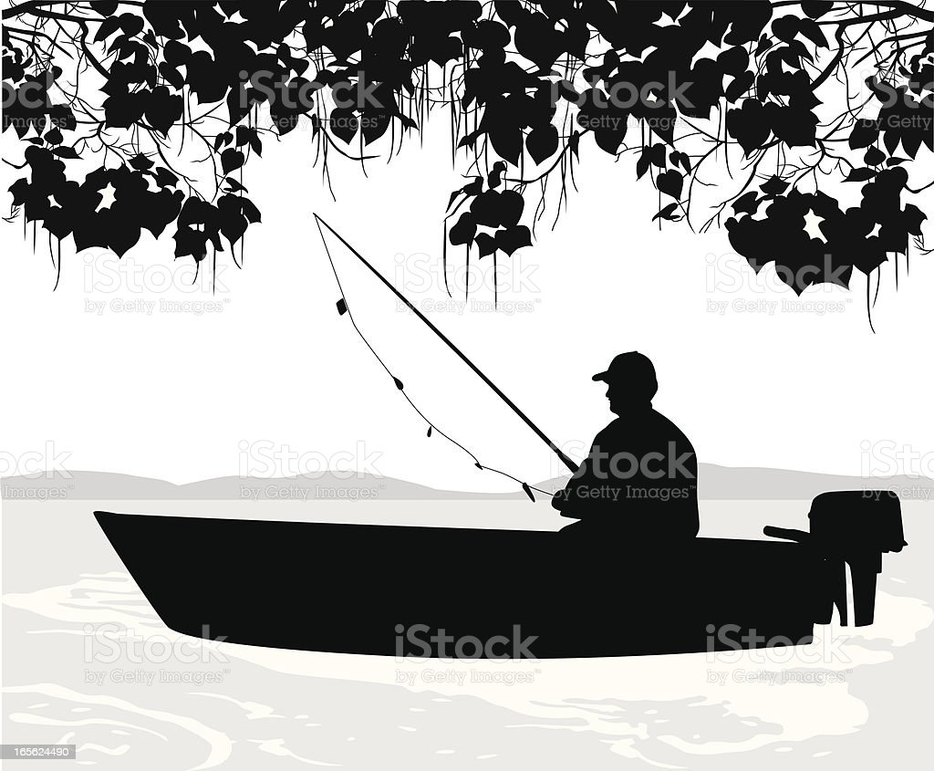 Fishing Solo Vector Silhouette royalty-free stock vector art