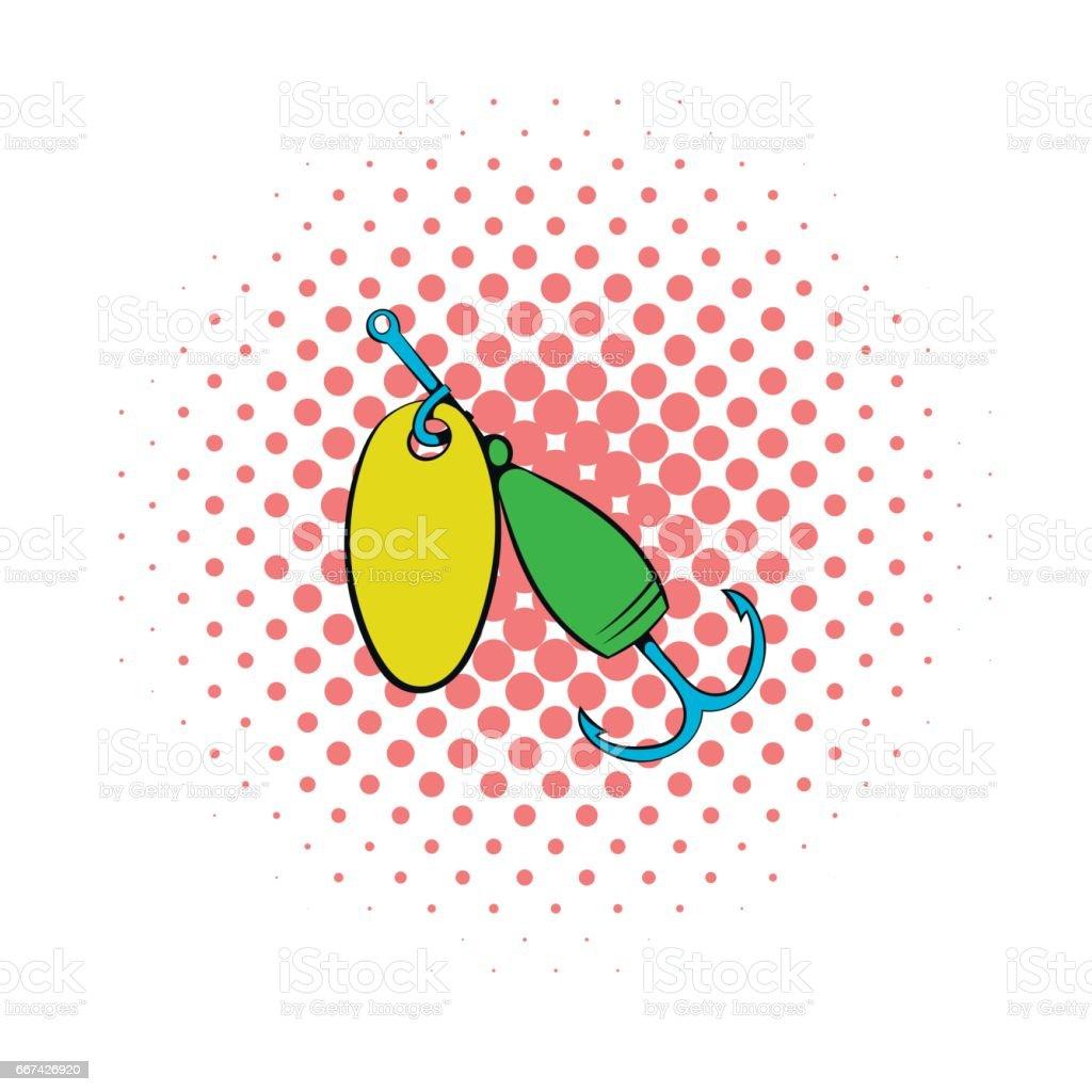 Fishing spinner icon, comics style vector art illustration