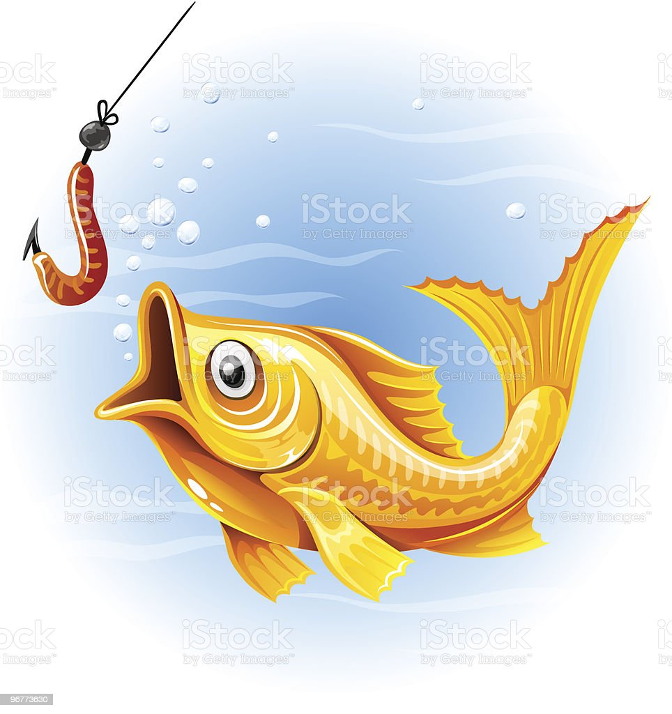 fishing the gold fish hunting worm royalty-free stock vector art