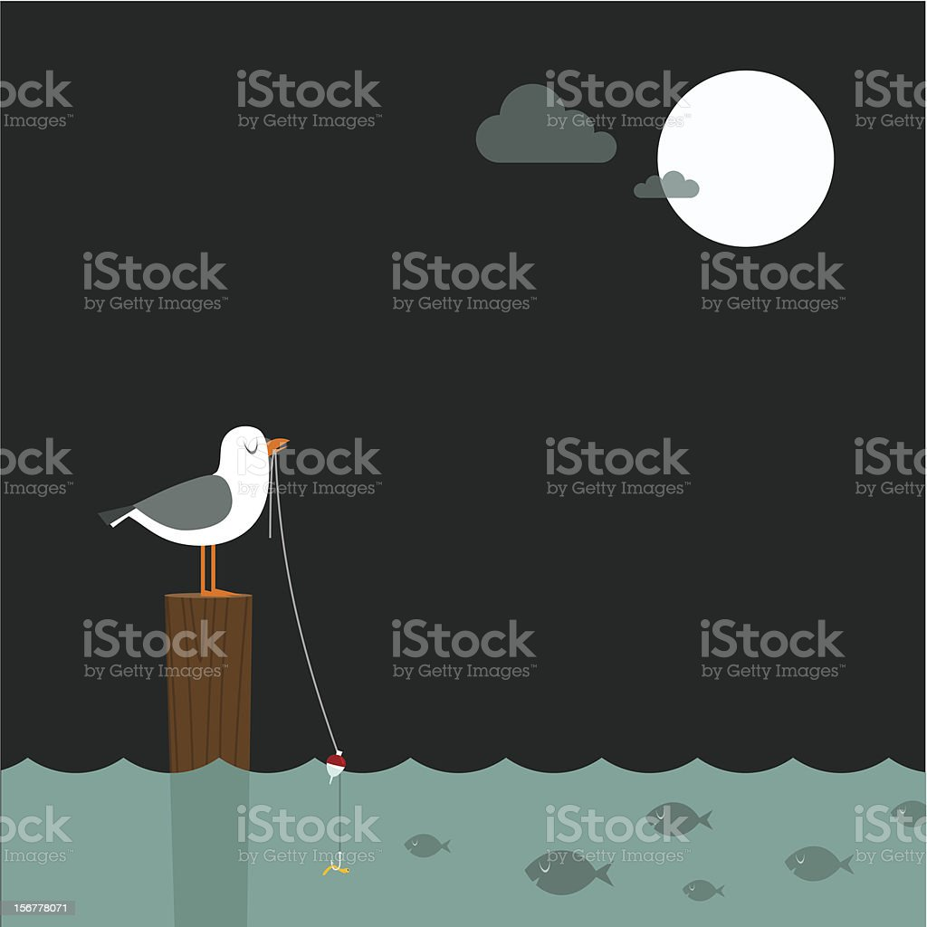 Fishing under the full moon vector art illustration