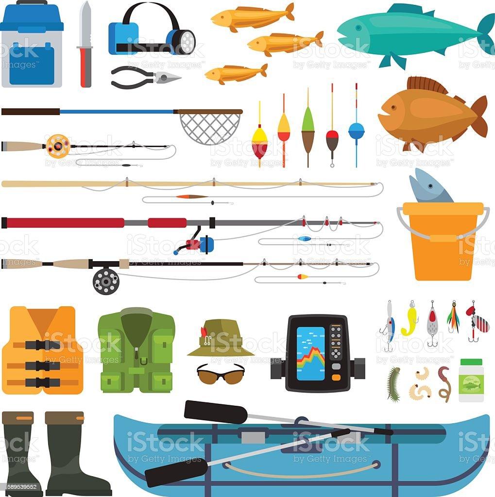 Fishing vector flat icons vector art illustration