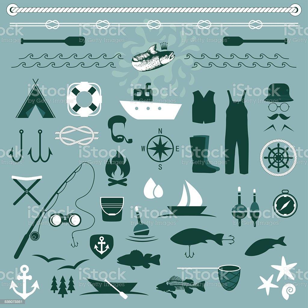 fishing vector art illustration