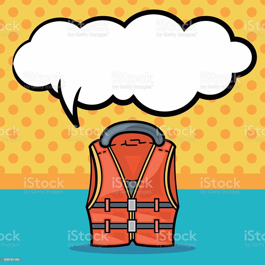 Fishing vest doodle, speech bubble vector art illustration