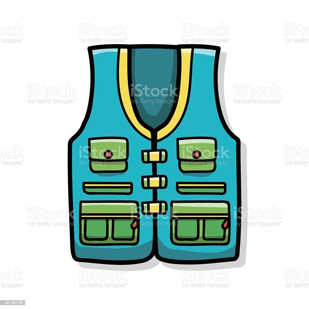 Fishing vest doodle vector art illustration