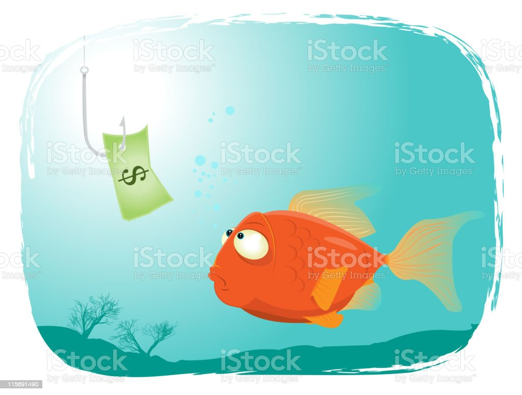 Fishing With Money royalty-free stock vector art