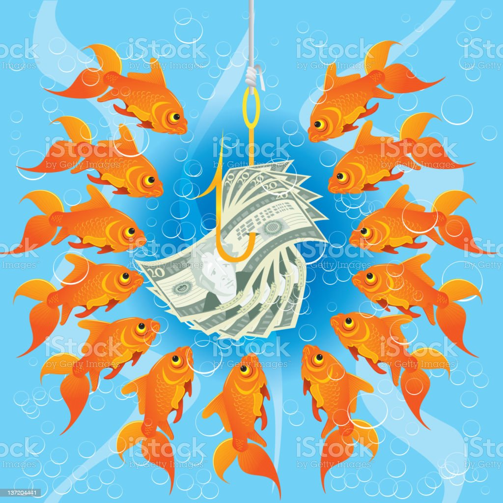 Fishing with Money! royalty-free stock vector art