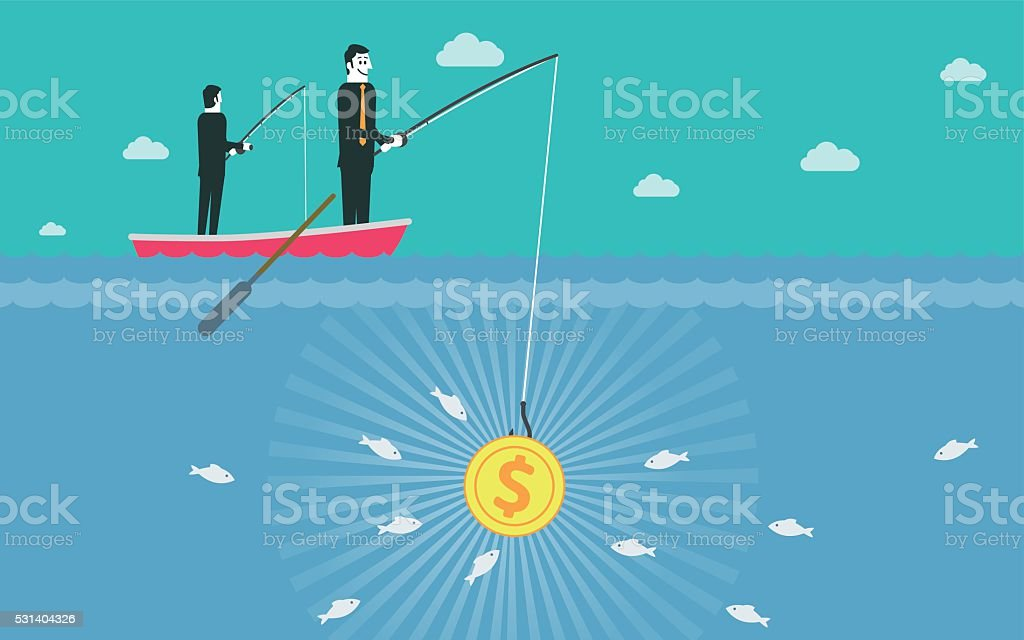 Fishing with Money vector art illustration