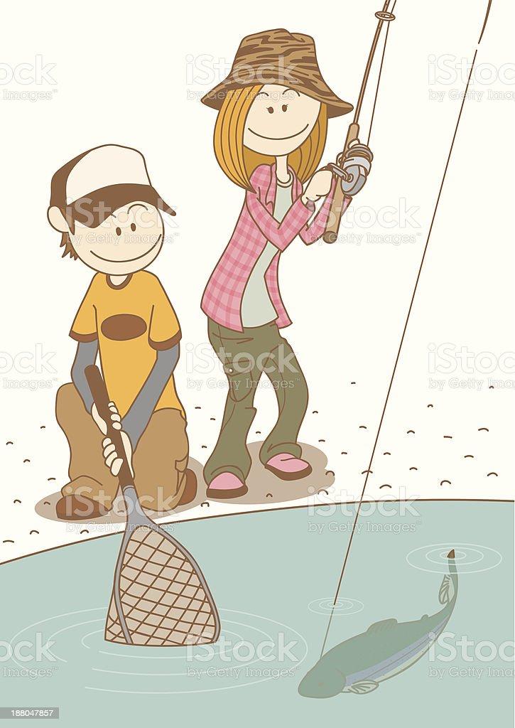 fishing_couple royalty-free stock vector art
