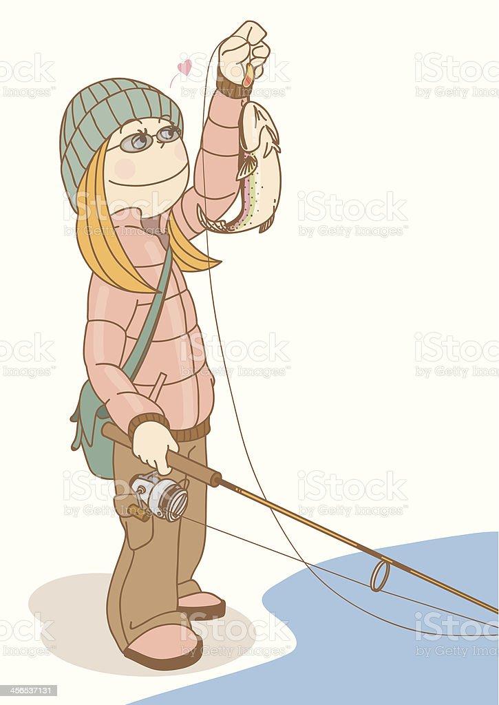 FishingGirl_Trout royalty-free stock vector art