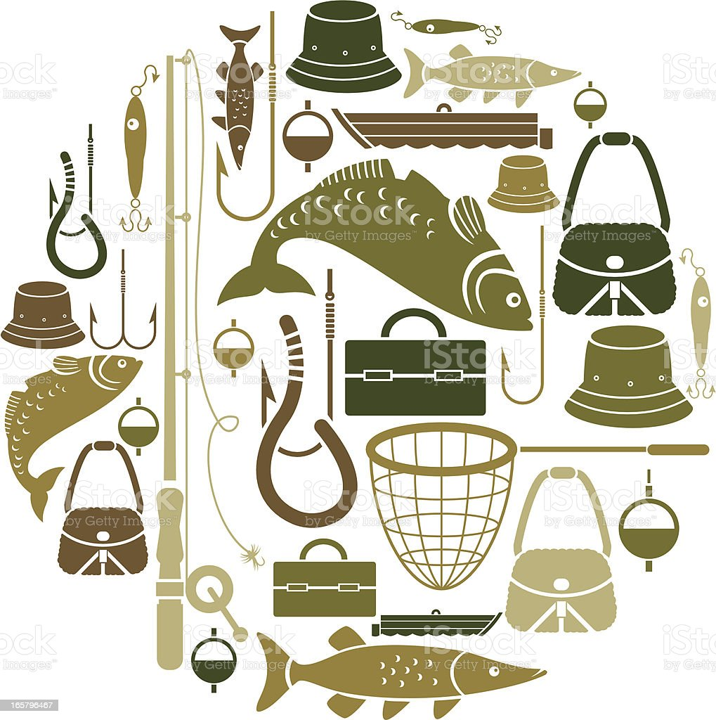 Fishing-themed set of vector icons vector art illustration
