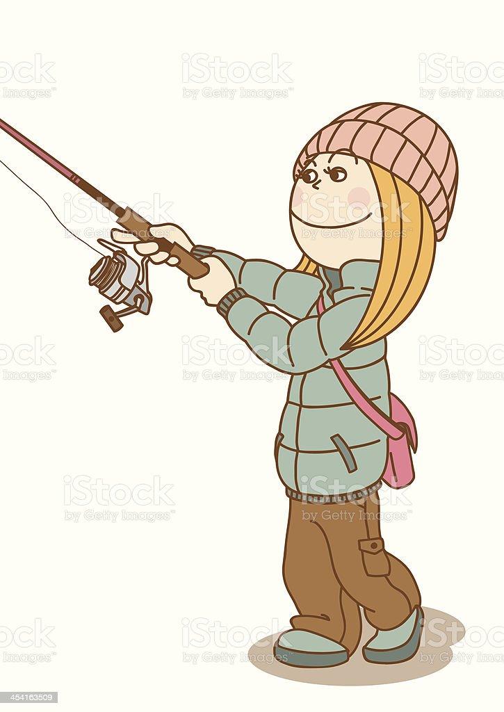 FishingWoman_Cast royalty-free stock vector art