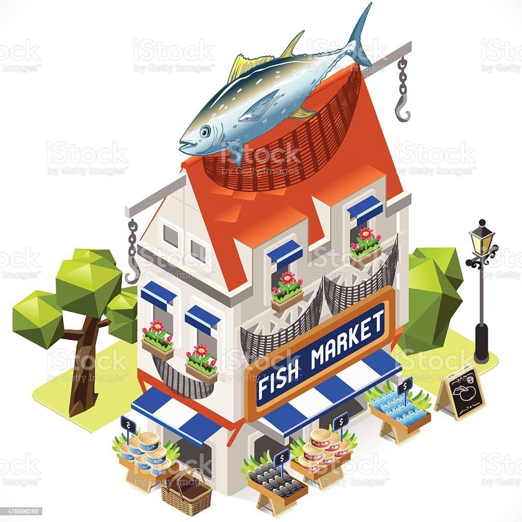 Fishmonger Shop City Building 3D Isometric vector art illustration