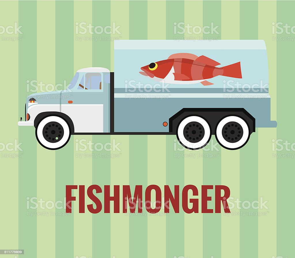 Fishmonger truck - layered vector drawing. vector art illustration