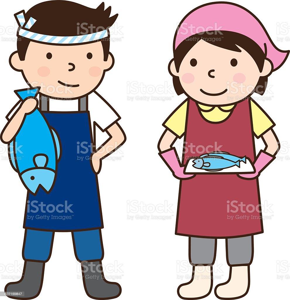 fishmonger???? vector art illustration