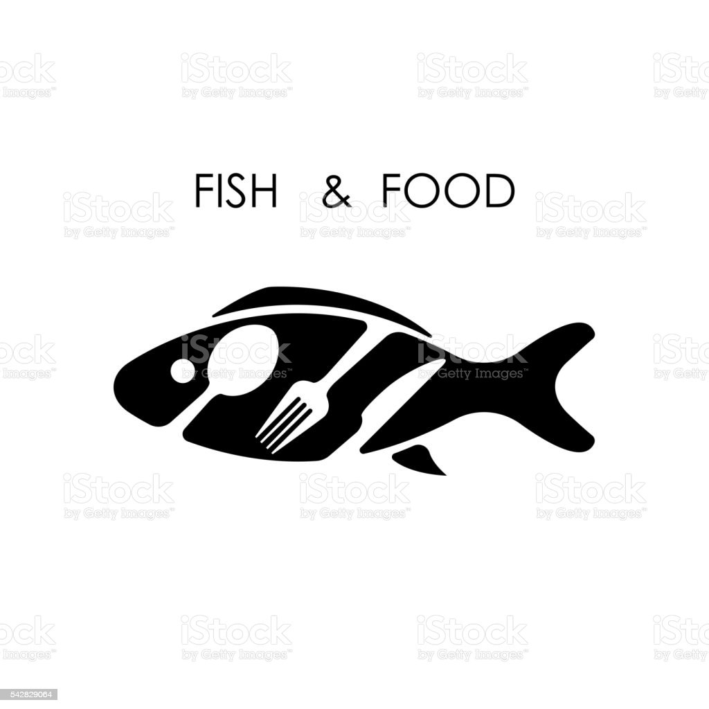 Fish,spoon,fork and knife icon.Fish & food icon. vector art illustration