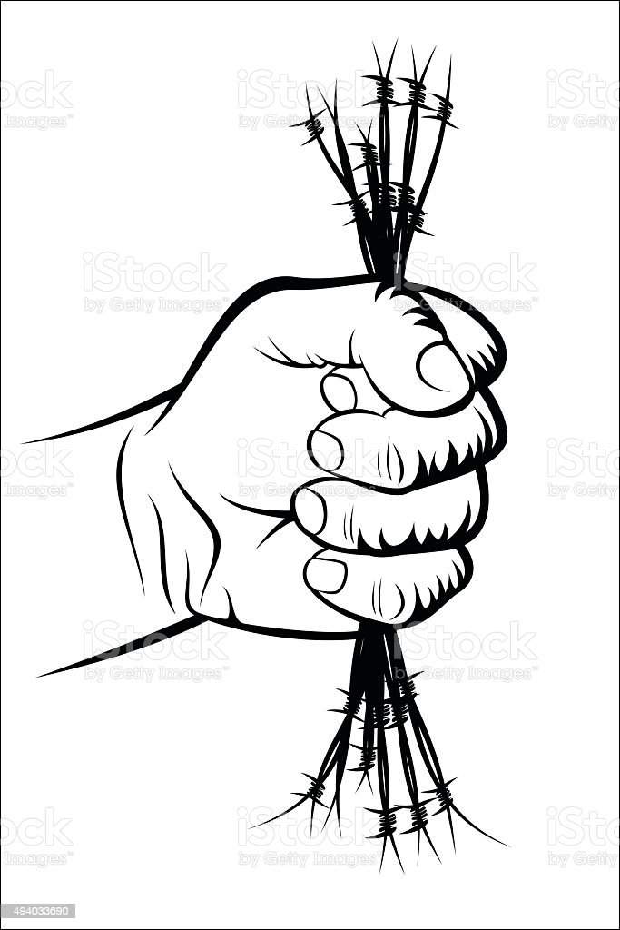 Fist and barbed wire royalty-free stock vector art