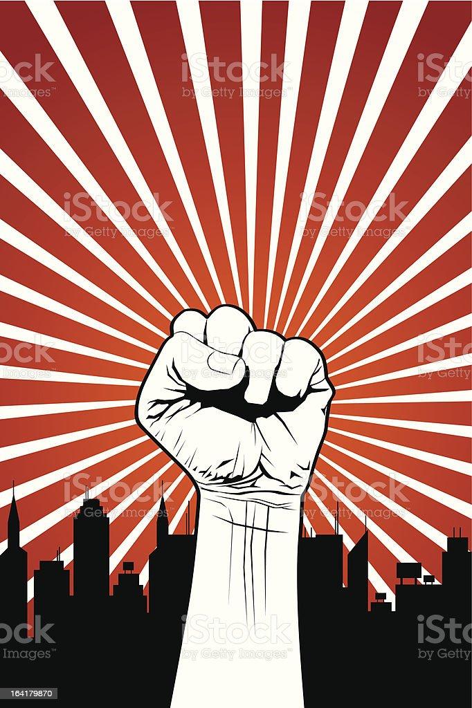 Fist demonstrating power against city skyline silhouette royalty-free stock vector art
