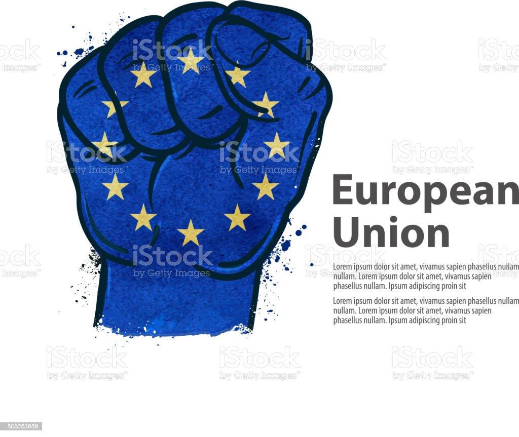 fist.  flag european union, europe. vector illustration vector art illustration